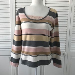 Emma James Color Block Scoop Neck Sweater